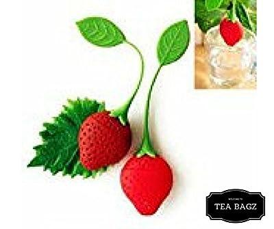 TEA-BAGZ/ Lot de 2 Infuseurs de Thé en forme de Fraise / Idéal pour une infusion Bio/Tisane/Thé vert,/ Thé noir/ Accessoires Home et Cuisine/ Diffuseur à Thé Original/ Diffuseur à Thé de Haute Qualité / Diffuseur de thé 100% silicone/ Infuseur à Thé en si