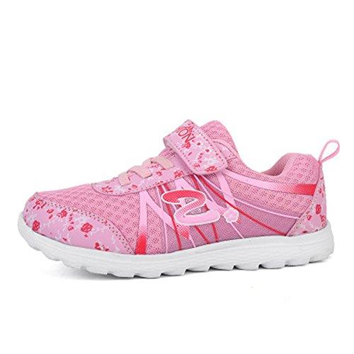 Mädchen Kinder Freizeitschuhe Mesh Atmungsaktives Lauflern Schuhe Blumen Sportlich Schnüren Klettverschluss Sommer Sneaker Pink01