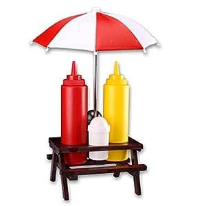 L'accessoire ultime & ketchup moutarde & sel poivre avec support pour parasol