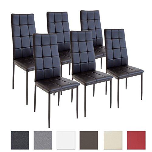Albatros silla RIMINI, Set de 6 sillas, Negro,...