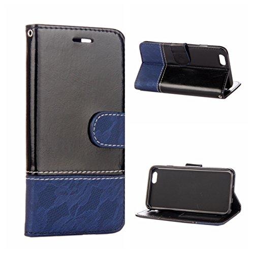 iPhone 6/6S Coque, Voguecase Étui en cuir synthétique chic avec fonction support pratique pour Apple iPhone 6/6S 4.7 (Dentelle-marron/noir)de Gratuit stylet l'écran aléatoire universelle Dentelle-noir/bleu