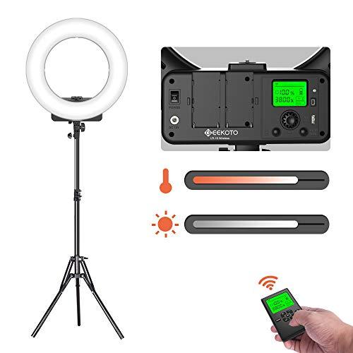 geekoto luce anulare con telecomando wireless e display lcd, 18 pollici luce anello led dimmerabile con bicolore 3300-5600k per smartphone e fotocamera, ideale per vlogging truccatura selfie ecc.