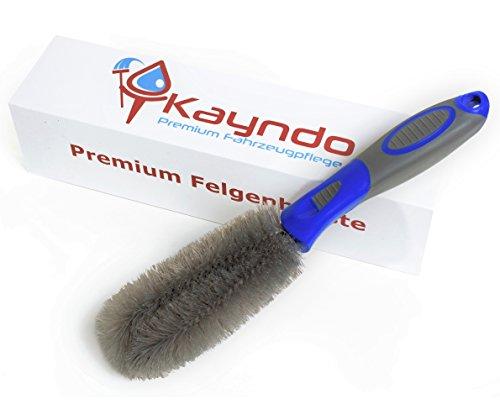 Premium Felgenbürste von Kayndo zur schonenden Reinigung hochwertiger Alufelgen - extra langer Bürstenkopf für ein optimales Reinigungsergebnis an schwierigen Stellen - 30 Tage Zufriedenheitsversprechen (Blau) …