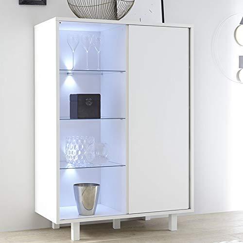 Buffet haut design lumineux blanc laqué PALAZIO