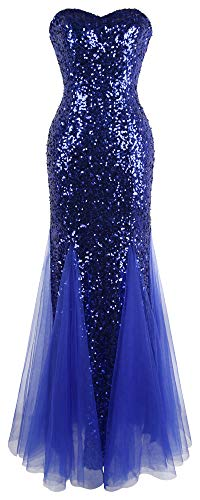 Angel-fashions Damen Padding Armel blau Pailletten Tull Abendkleid Small blau -
