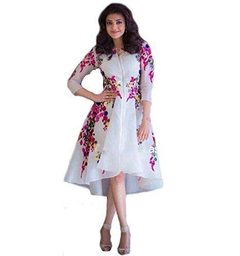 Jil Creation Style Women's Georgette Kurti (Jc02_White _Free Size)
