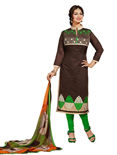 Thread Work Coffee Faux Chanderi Cotton Partywear Churidar Salwar Kameez 01