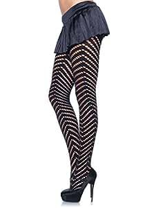 Leg Avenue Collant Opaque Ajouré en Motif Aryle Taille Unique Noir