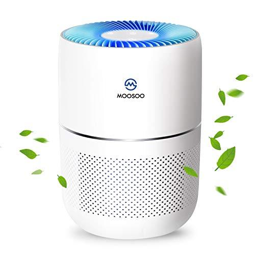 MooSoo Luftreiniger mit 4 Stufige Filtration HEPA 99,99% Filtrationsleistung perfekt für Allergiker und Raucher, Schlaf und Auto LED Luftqualitätsanzeige, CADR-Wert: 120m³/h, J100