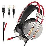 Gaming Headset, tectri Stereo Gaming Kopfhörer für PS4, Xbox One, PC, Nintendo Schalter (Audio), Laptop mit Mikrofon, LED-Leuchten, Geräuschunterdrückung, Bass Surround, Lautstärkeregler, Over-Ear Kopfhörer–Silber