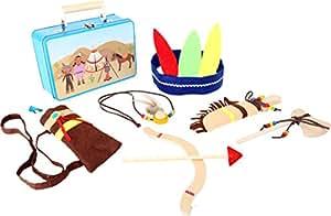 Legler Kinderkoffer Indianer-Set, mit allerlei Zubehör, eine tolle Ergänzung für Rollenspiele, für kleine Indianer und Entdecker ab 3 Jahre