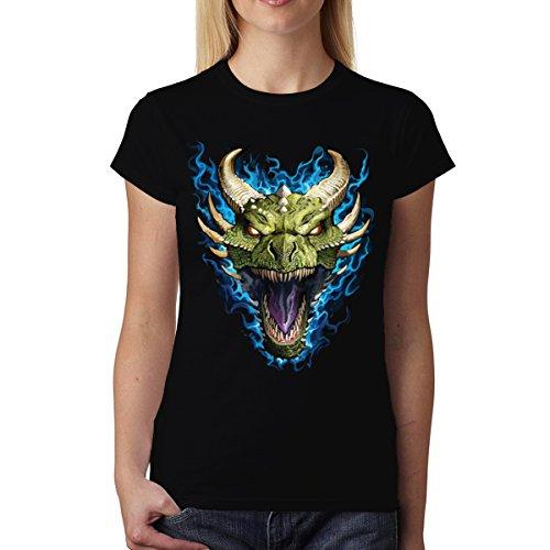 Grün Drache Flammen Damen T-shirt XS-2XL Neu Schwarz