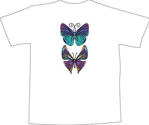 T-Shirt F894 Schönes T-Shirt mit farbigem Brustaufdruck - ein Paar von Schmetterling Weiß
