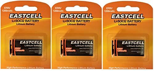 3 x ER9V 9V Block (1200 mAh) Lithium Langzeitbatterie Rauchmelder EINWEG (3 Batterien EASTCELL)