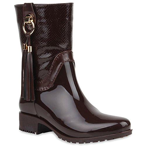 Damen Gummistiefel Stiefeletten Regenschuhe Lack Boots Stiefel Braun