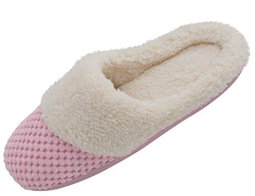 HushWear Damen-Cozy Memory Foam Plüsch Rasterband Samt Futter Spa Tanga Flip Flops Verstopfen Haus Innen-Hausschuhe, Pink - Rose - Größe: 35/36 EU/Small (Spa-flip-flops Für Frauen)