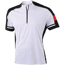 James & Nicholson Radtrikots Bike-T-Half Zip Camiseta de Ciclismo, Hombre, Blanco, S