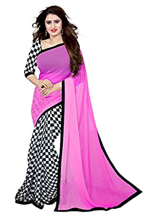 Trendz Women's Chiffon Saree With Blouse Piece (Tz_Red_Aayesha_Pink)