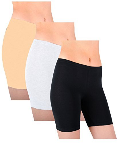 Sexy Basics Womens 3 Pack Sheer & Sexy Cotton Spandex Boyshort Yoga Bike Shorts -  -