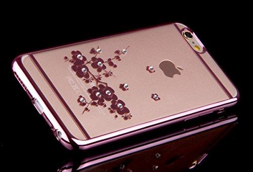 Coque iPhone 6S Plus,Coque iPhone 6 Plus,Coque Étui Case pour iPhone 6 / 6S Plus,ikasus® Plating Rose Golden Placage or rose Coque iPhone 6 / 6S Plus Silicone Étui Housse Téléphone Couverture TPU Clai Une fleur Rose Plum Blossom