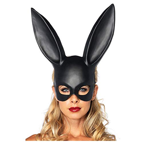 Halloween Make-up Ball Bunny Ohrmaske Maske Sklaverei Rabbit Maskerade Adult Dekoration,banner aufblasbar led michael myers masken erwachsene the purge (Black)
