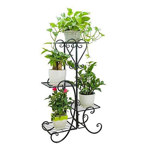 GLXQIJ 4 Tier PflanzenstäNder Dekorative Metall Blumentopf Display Regal, Hausgarten Patio Pflanze Rack Lagerregal,Black (Dekorative Regale Display)