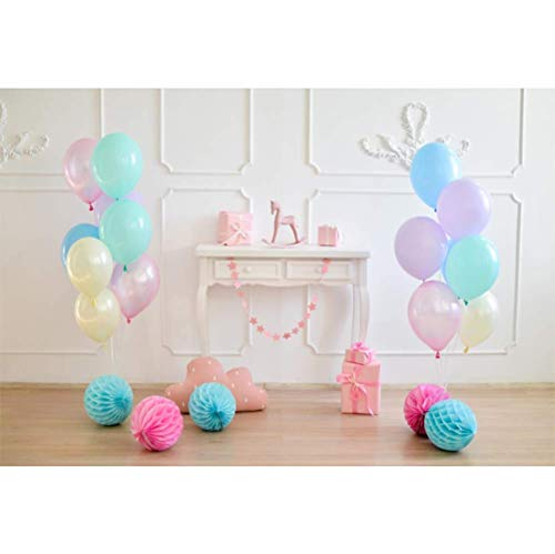 Black Flat Panel Floor Stand (vrupi 5x3ft Vinyl Easter Day Photography Background Colorful Balloons Paper Poms White Panel Wall Desk Pink Gift Boxes Wooden Floor Backdrops Children Kids Birthday Party Adults Photo Shoot)