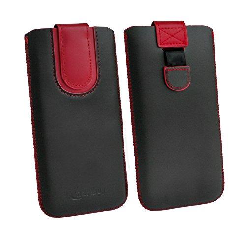 emartbuy Schwarz/Rot Premium-Pu-Leder-Slide In Case Abdeckung Tashe Hülle Sleeve Halter (Größe D) Mit Zuglaschen Mechanismus Geeignet Für Die Unten Aufgeführten Smartphones