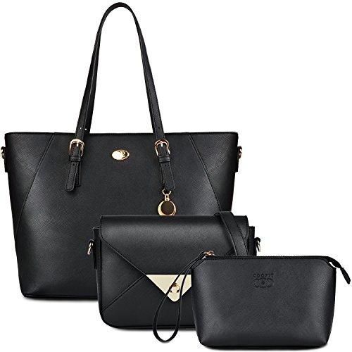 Damen Handtaschen, Coofit Lederhandtasche Tasche Set mit Crossbody Tasche Umhängetasche Damen Henkeltaschen Handgelenktasche