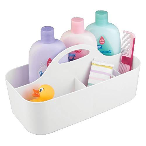 mDesign Baby Organizer - Aufbewahrung für Spielzeug, Shampoo, Thermometer, Puder, Lotion - mittelgroße Aufbewahrungsbox mit 6 Fächern - weiß - Baby-shampoo-lotion