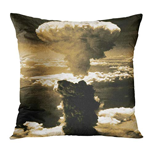Throw Pillow Cover Atomic Bomb Mushroom Cloud Rises More Than 60 000 Feet Into the Air Over Nagasaki Japan after Was Dropped Decorative Pillow Case Home Decor Square 16x16 Inches Pillowcase -