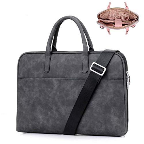 Kenneth Cole Aktentaschen (Frauen Rosa Leder Laptop Taschen Designer Für Handtaschen wasserdichte Notebooktasche Männer Schwarz Umhängetasche Black Enhanced 15.6 Inch)