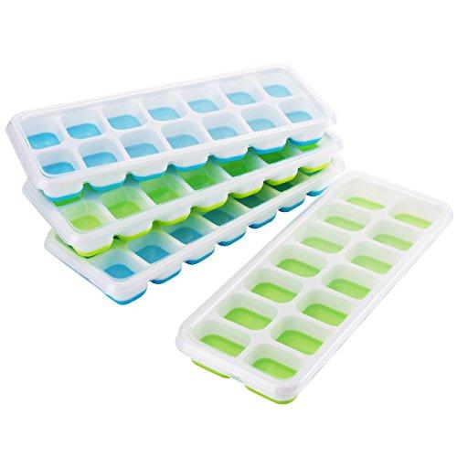 TOPELEK 4 Stück Eiswürfelform Silikon Eiswuerfel Form Eiswuerfelbehaelter Mit Deckel Ice Tray Ice Cube 14-Fach Kühl Aufbewahren LFGB Zertifiziert.