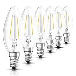 Osram LED Star Classic B Lampe, in Kerzenform mit E14-Sockel, nicht dimmbar, Ersetzt 2.8W = 25 Watt, Filamentstil Klar, Warmweiß - 2700 Kelvin, 6er-Pack