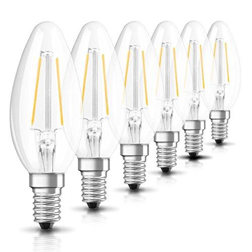 Osram LED Star Classic B Lampe, in Kerzenform mit E14-Sockel, nicht dimmbar, Ersetzt 25 Watt, Filamentstil Klar, Warmweiß - 2700 Kelvin, 6er-Pack