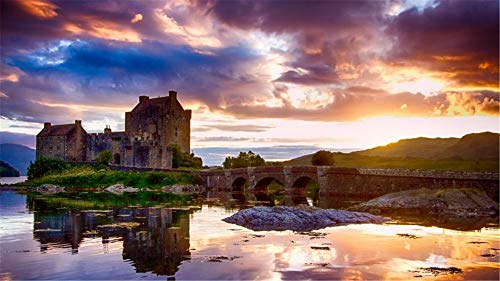 Eilean Donan Castle (Malen Nach Zahlen Eilean Donan Castle Schottland DIY Unique Gift Handpainted Oil Painting for Home Wall Decor Artworks Frameless)