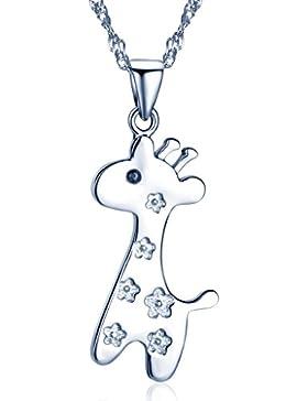 Yumilok Silber/Roségold 925 Sterling Silber Zirkonia Zierliche Giraffe Hirschkalb Anhänger Halskette Kette mit...