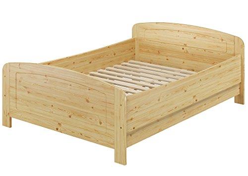 Erst-Holz® Seniorenbett extra hoch 140×200 Doppelbett Holzbett Massivholz Kiefer Bett mit Rollrost 60.44-14