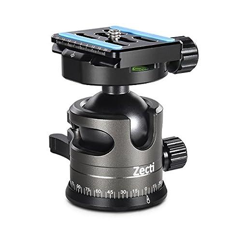 Kugelkopf für Stativ Aluminiumlegierung Stativ Ball Kopf für DSLR Kameras - Zecti (bis zu 15kg Panorama Kugelkopf inkl. Schnellwechselplatte schwarz)