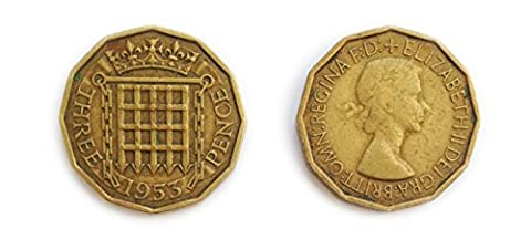 Münzen für Sammler - Gebraucht britischen Dreigroschen 1953 Bit / Three Pence 3p Münze / Großbritannien