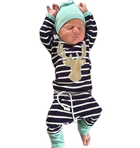 Kinder Baby Jungen Mädchen Sweatshirt Tops + Hosen + Hut Rentier Deer,ZEZKT-Baby Kindermode Kinderkleidung Anzüge für Jungen Langarm Shirt (0-24 Monate ) (Size:70 6Monate, Marine)