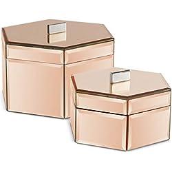 Beautify Ensemble de 2 boîtes à bijoux effet miroir - Couleurs argent et or rose - Solution de rangement pour bijoux et accessoires - Excellente idée cadeau (Or rose)