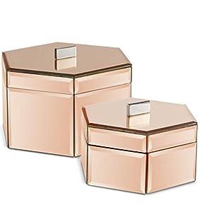 Beautify Set aus 2 gespiegelten Schmuckschatullen – Organiser/ordentlicher Schreibtisch / – Silber – Geschenkidee – für…