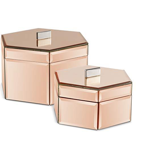 Beautify Set aus 2 gespiegelten Schmuckschatullen - Organiser/ordentlicher Schreibtisch / - Silber - Geschenkidee - für Schmuck und Accessoires (Roségold)