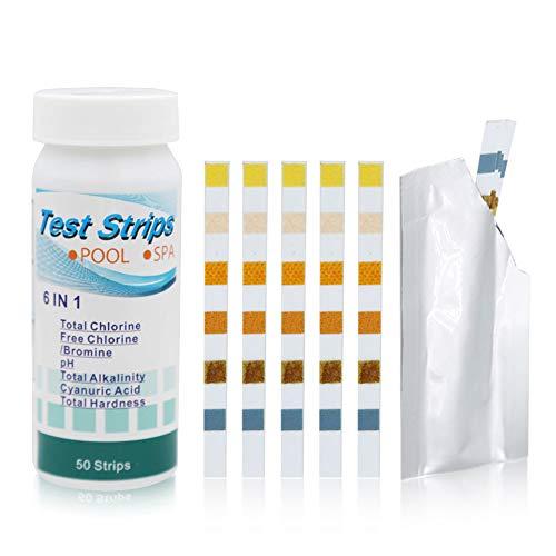IsEasy 50 Stück Pool Teststreifen, 6-in-1 Schwimmbad Test Streifen, Chlor/ph Wert/Alkalinität Teststripes
