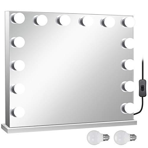 FlowerW Ohne Grenzen Vanity Led Schminkspiegel 650 * 800mm kosmetikspiegel Beleuchtet mit 14 Stück Dimmbaren LED-Lampen Schminkspiegel für Tisch Kosmetik(Ohne Grenzen) -