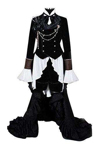 Kuroshitsuji Black Butler Ciel Phantom Cosplay Kostüm Outfit Schwarz S (Ciel Cosplay Kostüm)