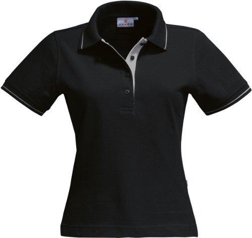 HAKRO Damen Polo-Shirt Casual - 203 - schwarz/silber - Größe: L -
