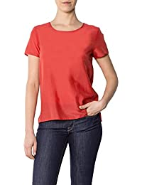 Tommy Hilfiger Damen Bluse Seide Blusenshirt Unifarben, Größe: 36, Farbe: Rot