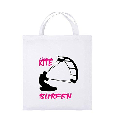 Comedy Bags - Kite Surfen - MOTIV 3 - Jutebeutel - kurze Henkel - 38x42cm - Farbe: Schwarz / Weiss-Neongrün Weiss / Schwarz-Pink